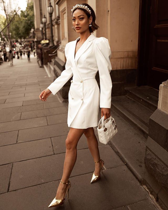 Priya White Blazer Dress