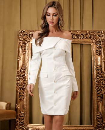 Blanco Off Shoulder Blazer Dress