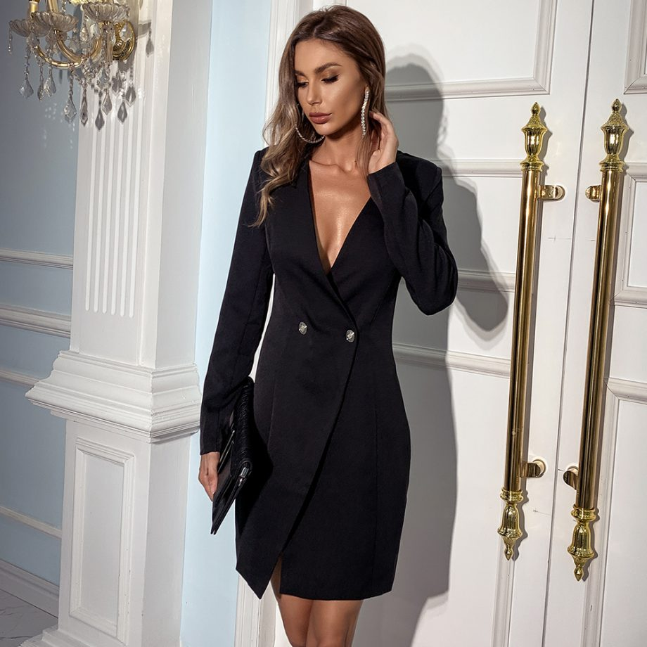 Gloss Black Velvet Blazer Dress
