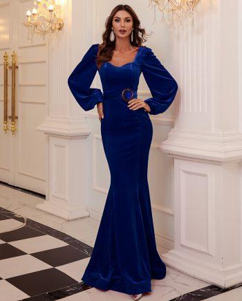 Nusriya Blue Velvet Gown