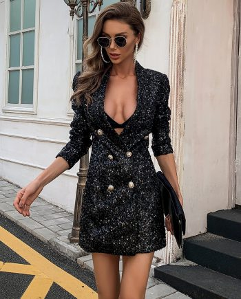 Bossy Black Sequins Blazer Dress
