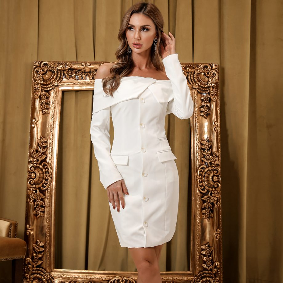 Blanco Off Shoulder Blazer Dress