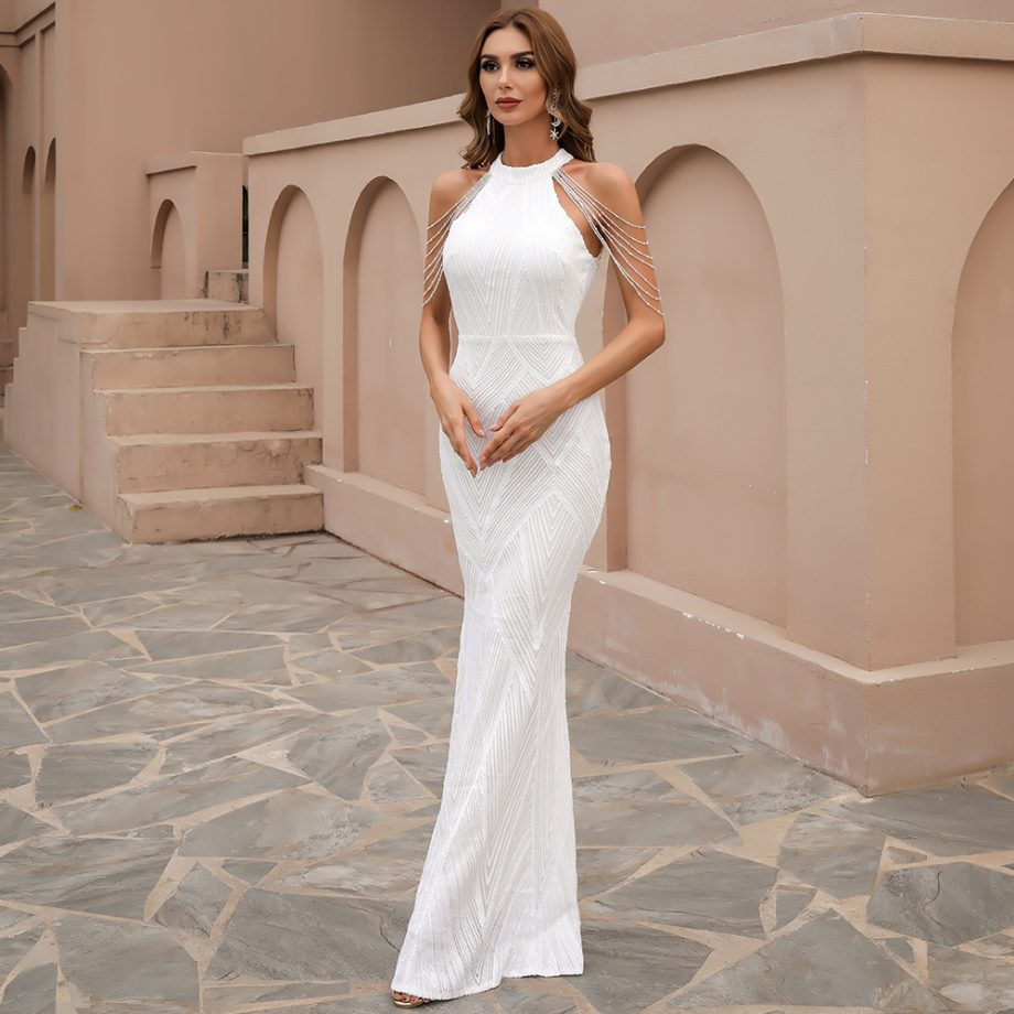 Lilja Sequins Gown - White