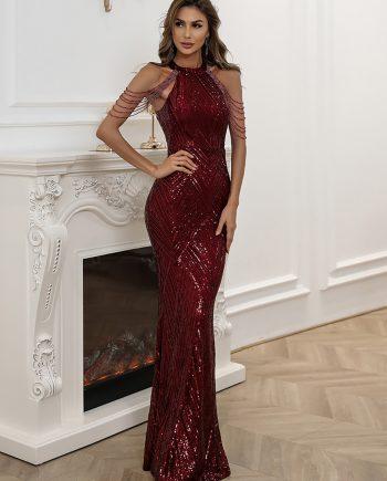 Lilja Sequins Gown - Deep Red